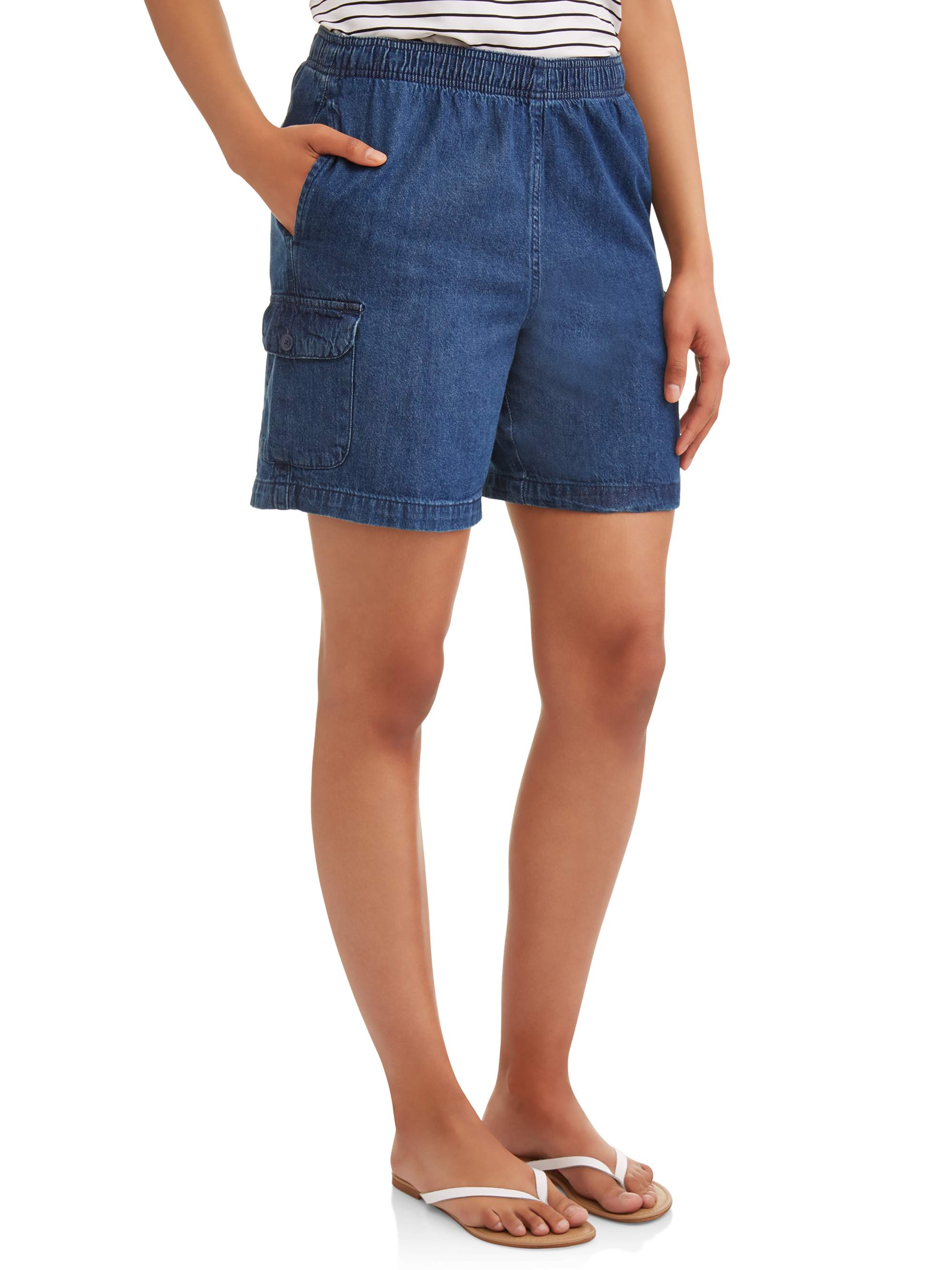 Women's Pull On Denim Cargo Shorts