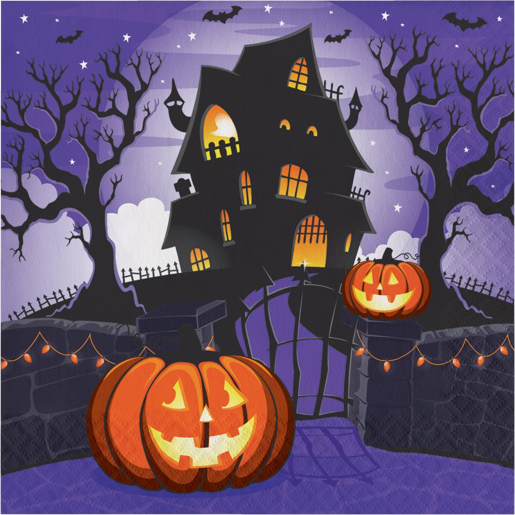 Haunted House Pumpkin Halloween 16 Ct 6 5 Luncheon Napkins Walmart Com Walmart Com
