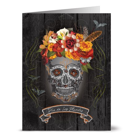24 Halloween Note Cards - Dia de Los Muertos - Blank Cards - Grey Envelopes Included - Simple Homemade Halloween Cards