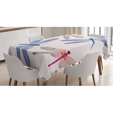 Country Decor Tablecloth, Dragonfly High Detailed Embellished Irregular Macro Retro Simplistic Art Print, Rectangular Table Cover for Dining Room Kitchen, 60 X 90 Inches, Pink Blue, by