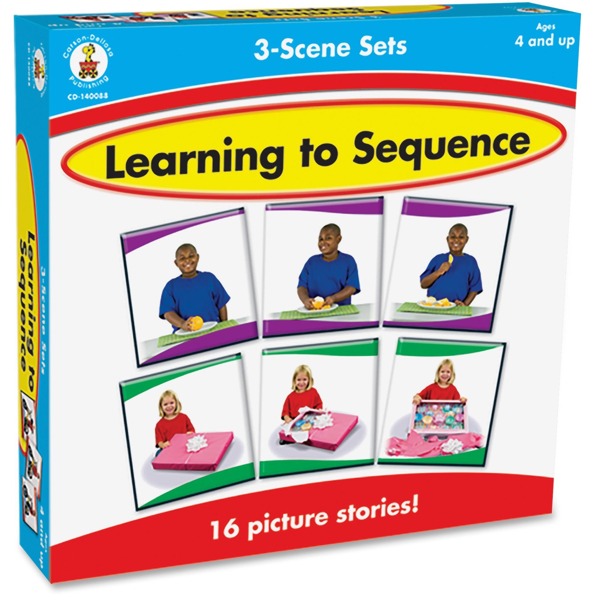 Carson-Dellosa, CDP140088, Learning To Sequence 3-scene Board Game, 1 Each, Multi