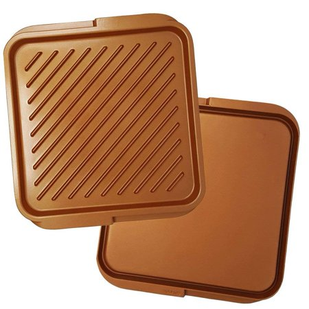 Copper Ceramic Double Sided Reversible Nonstick 12 x 11 Inch Stovetop/Oven/Barbecue Griddle Grill Pan for Steak Pancakes Panini Reversible Round Griddle