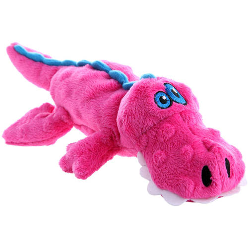 goDog® Gators with Chew Guard Technology™ Plush Squeaker Dog Toy, Small, Pink