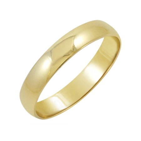 Oxford Ivy Men's 10K Yellow Gold 4mm Classic Fit Plain Wedding Band (Available Ring Sizes 7-12 - 4mm Marquise Ring Setting