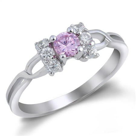 CHOOSE YOUR COLOR Pink CZ Bow Criss Cross Cute Ring New .925 Sterling Silver Thumb Band
