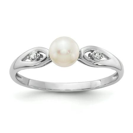 14k White Gold Genuine Freshwater Cultured Pearl Diamond Ring