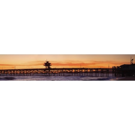 San Clemente Municipal Pier In Sunset Panorama San Clemente City Orange County Southern California Usa Canvas Art - Richard Cummins  Design Pics (49 x 9) ()