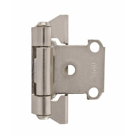 1/4 in (6 mm) Overlay Self-Closing, Partial Wrap Satin Nickel Hinge - 2 Pack