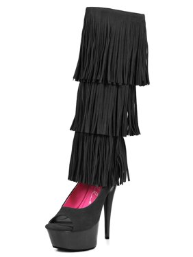 a410cd64cab Product Image Knee High Black Fringe Boots Women s Peep Toe Pumps with 6    Heels ...
