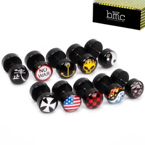 BMC Mens 10 pc Black Acrylic Mixed Design Fashion Stud Barbell Earrings Set