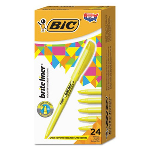 Bic Brite Liner Highlighter, Chisel Tip, Yellow Ink, 24 per Pack (BICBL241YW)