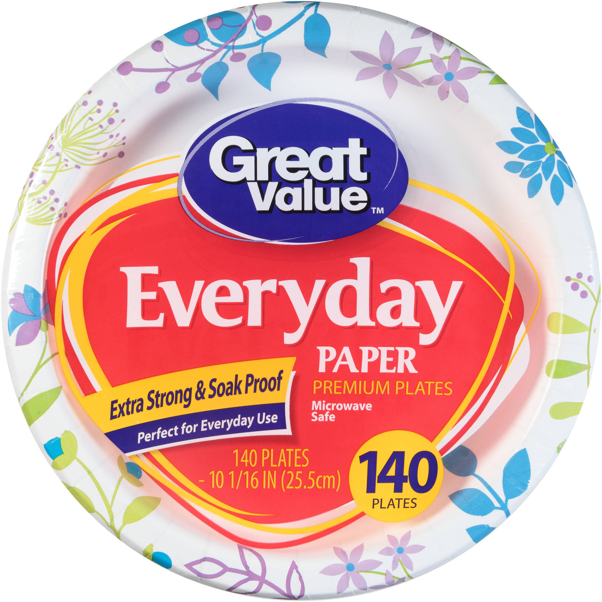 Great Value Everyday Paper Premium Plates, 140 count