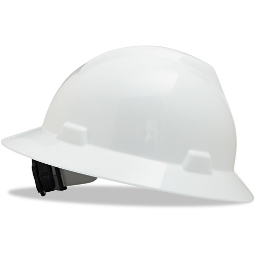 MSA V-Gard Full-Brim Hard Hats, Ratchet Suspension, Size 6 1 2 8, White by MSA