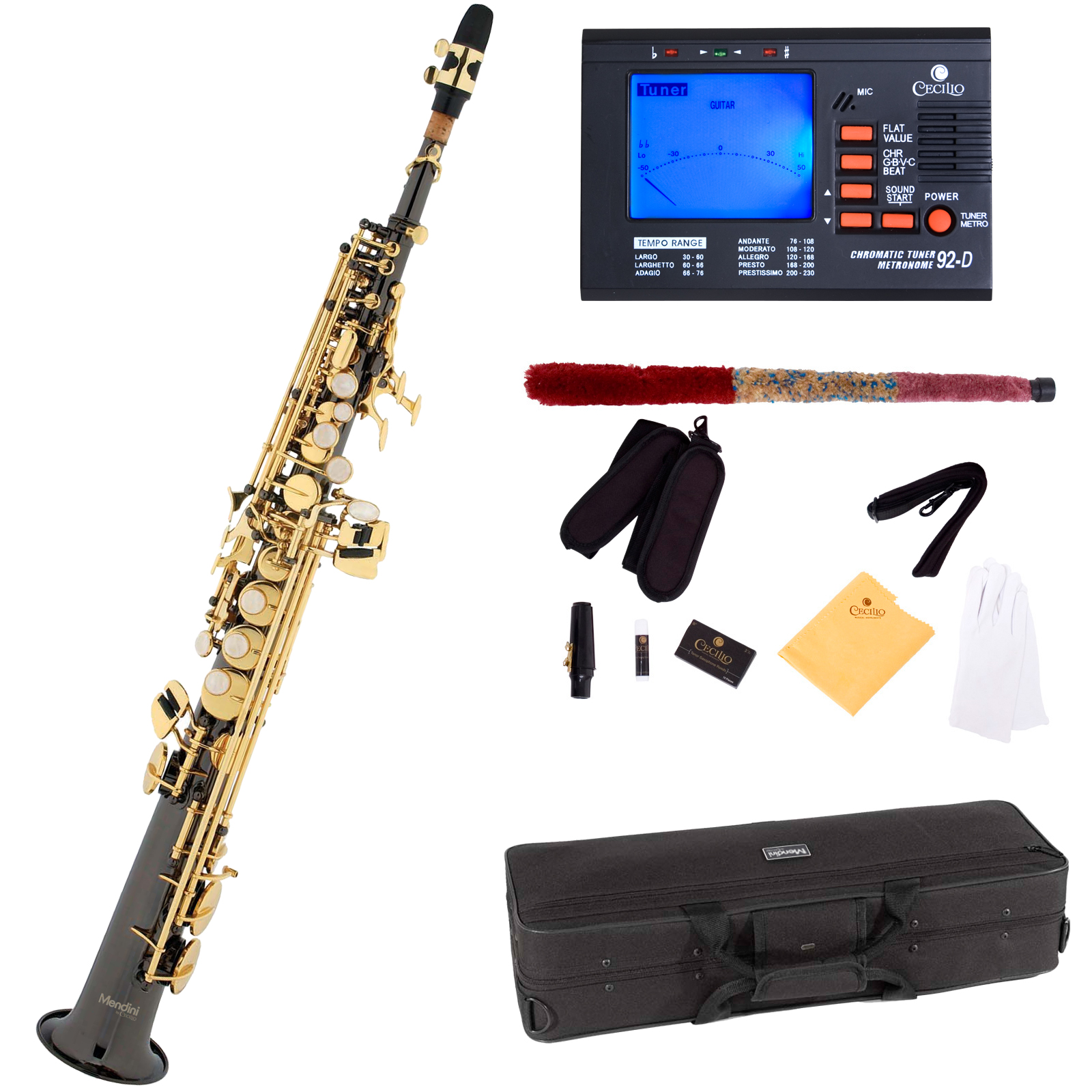 Mendini Straight Bb Soprano Saxophone with Tuner, 10 Reeds, Mouthpiece and Case, MSS-BNG... by Cecilio Musical Instruments