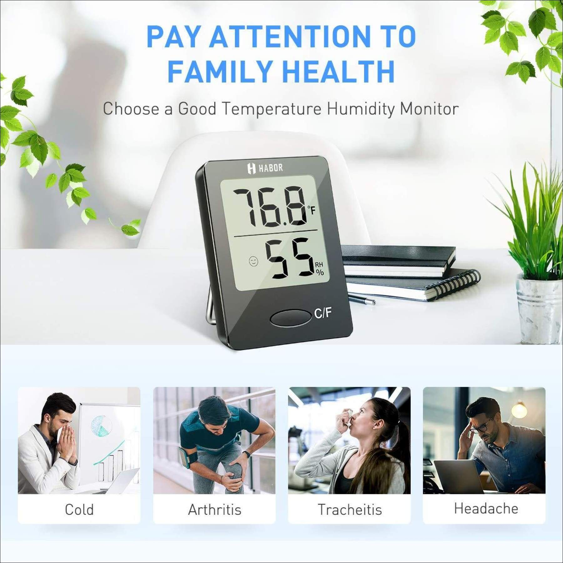 Habor Digital Hygrometer Indoor Thermometer Humidity Gauge Indicator Room...