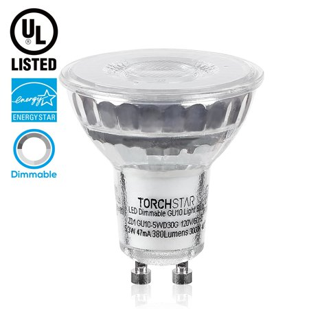 TORCHSTAR Dimmable LED GU10 Light Bulb, 5.3W (50W equivalent), 3000K Warm White, 380