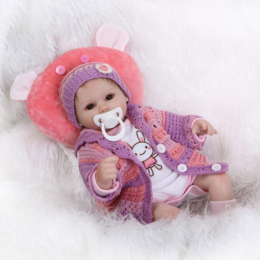 """Zimtown 16"""" Realistic Reborn Baby Dolls Girl Look Real Toddler Silicone Light Purple Outfit with Cushion Christmas Gift"""