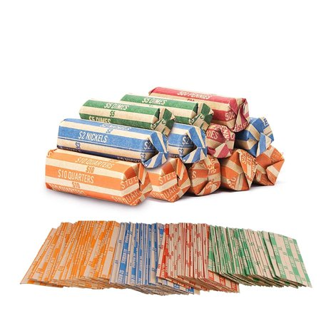 - Coin Roll Wrappers -440 Pack Assorted Flat Coin Papers Bundle of Quarters Nickels Dimes Pennies