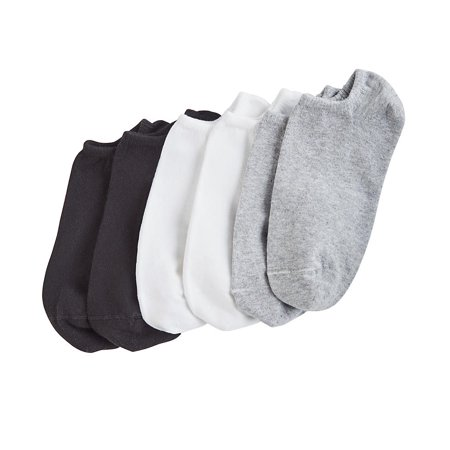Sock Hop Girl (Hue Women's Cotton Liner Sock 6-Pack, Grey/White/Black, One)