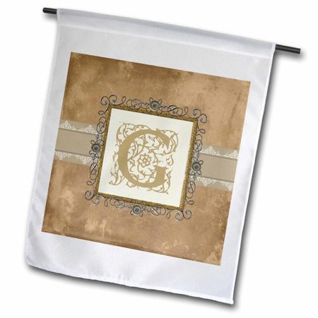 3dRose G Initial Vintage Elegant Vines and Flowers in Sepia and Pewter Look, Garden Flag, 12 by 18-Inch