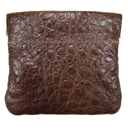 Leather Squeeze Coin Pouch USA Made, Brown (Brown Croc)