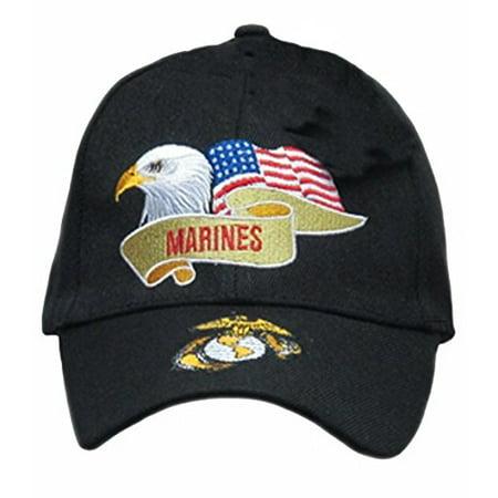 U.S. MARINE CORPS USMC INSIGNIA HAT CAP BLACK MARINES US MILITARY BASEBALL (Military Usmc Insignia Caps)