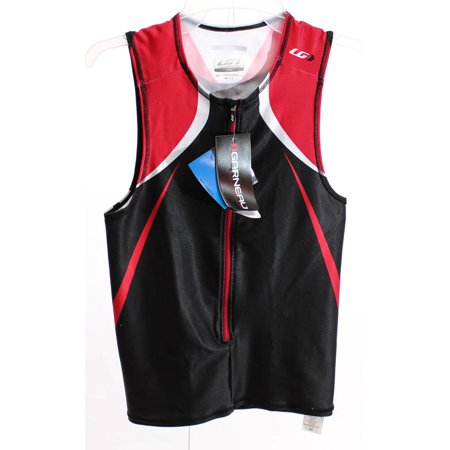 LOUIS GARNEAU TRI ELITE Large Men's Road Cycling Sleeveless Jersey Black/Red (Louis Garneau Tri Suit)