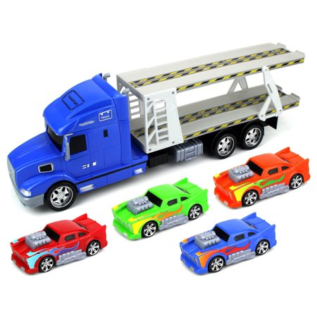 Flaming Car Trailer Children's Friction Toy Transporter Truck Ready To Run 1:24 Scale w/ 4 Toy Cars (Colors May Vary)