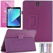 Samsung Galaxy Tab S3 9.7 Case, EpicGadget(TM) PU Leather Folding Folio (With S Pen) Auto Sleep/Wake Case for Tab S3 9.7 Inch SM-T820/T825 2017 Tablet With Screen Protector and 1 Stylus (Purple)