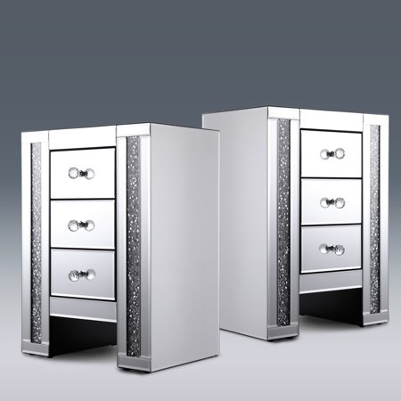 set of 2 crystal beaded nightstand bedside table w 3 drawers rectangle mirror top clear finish. Black Bedroom Furniture Sets. Home Design Ideas