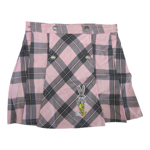ABC Brands Inc. WB Girls Pink Plaid Looney Tunes Character Applique Button Skirt 7