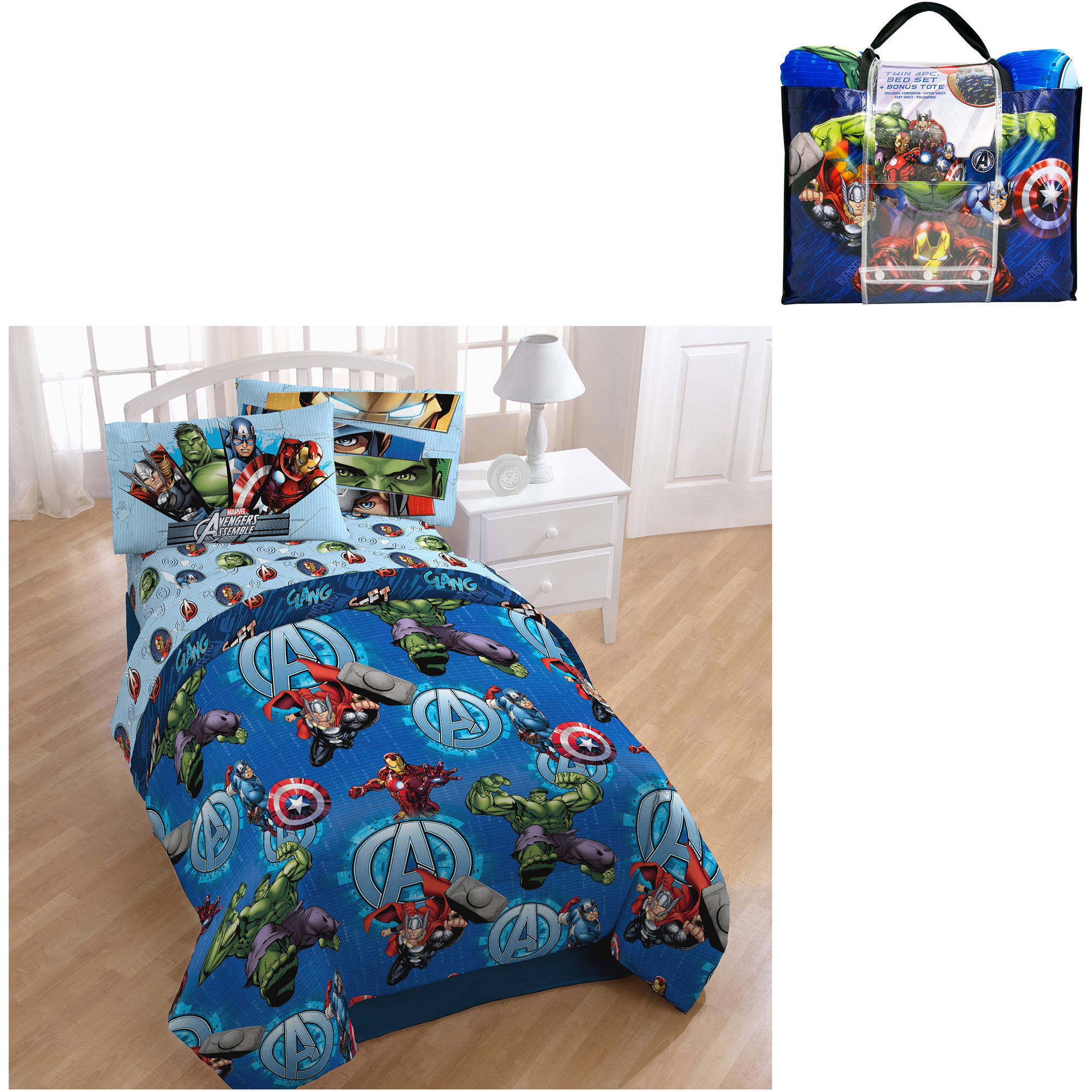 Avengers bedding set twin - Marvel Avengers Assemble Smash 4 Piece Bedding Set With Bonus Tote