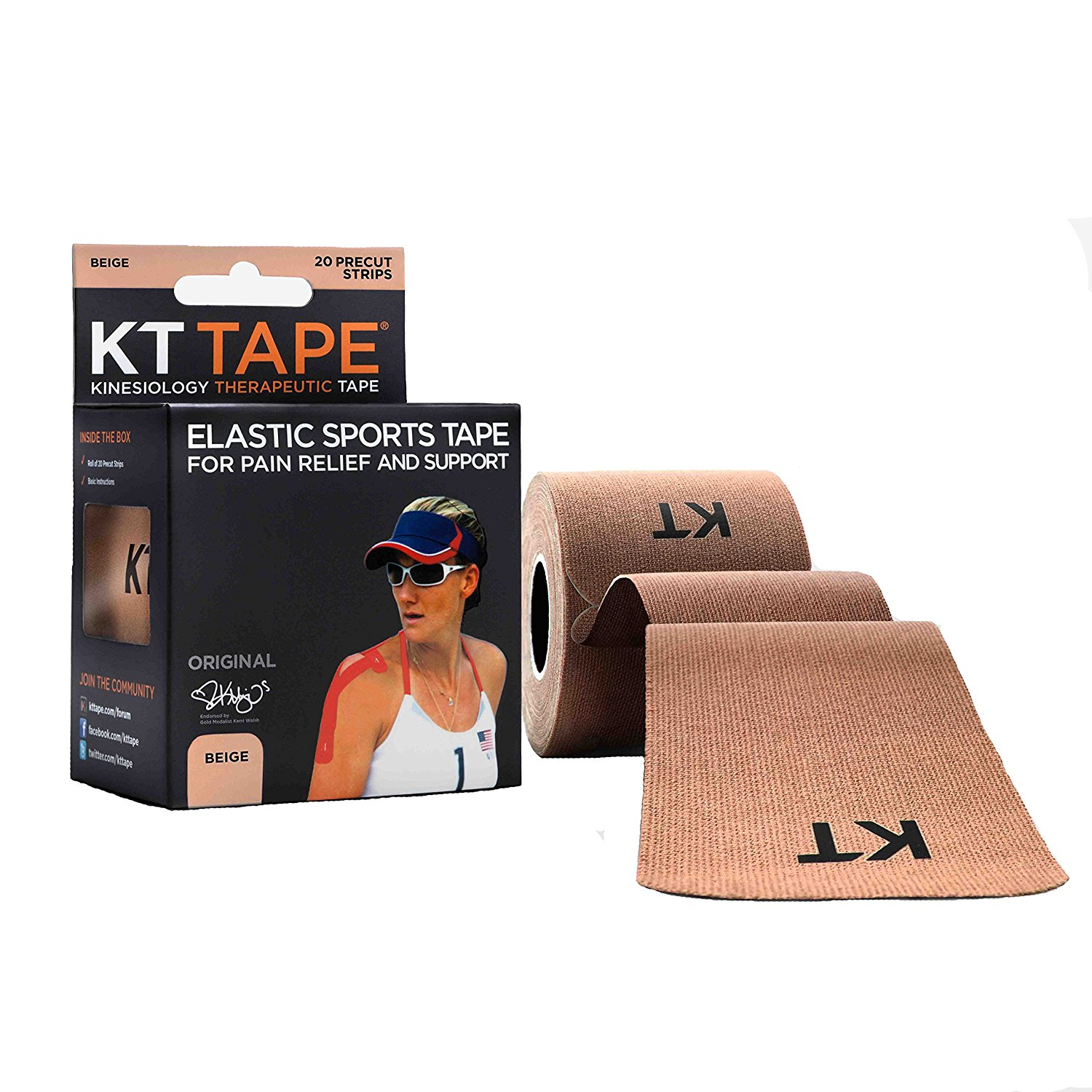 Original Cotton Elastic Kinesiology Therapeutic Sports Tape, 20 Precut 10 Inch Strips, Breathable, Free Videos, Pro & Olympic Choice, Beige, FOR SERIOUS.., By KT Tape