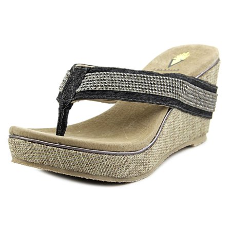 Volatile Holly Women Open Toe Canvas Gold Wedge Sandal