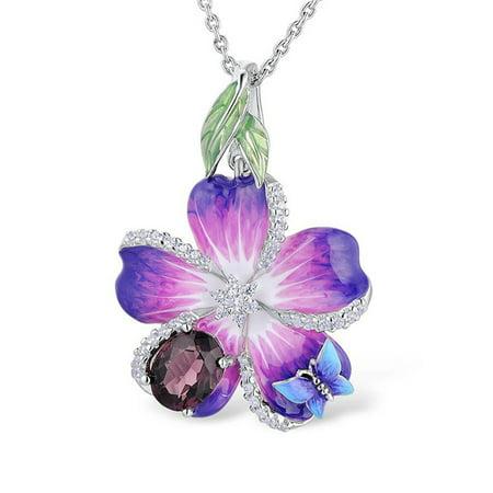 Fancyleo 925 Sterling Silver Purple Flower Butterfly Leaf Pendant Neckalce Zircon Gemstone Women Fashion Handmade Enamel Jewelry Gifts Handmade Stone Pendant