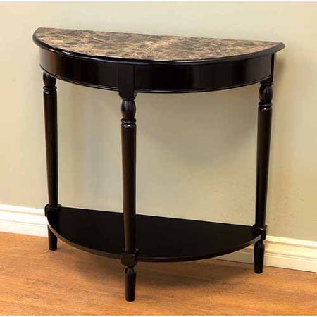 Home craft entryway table with faux marble top black for Sofa table at walmart