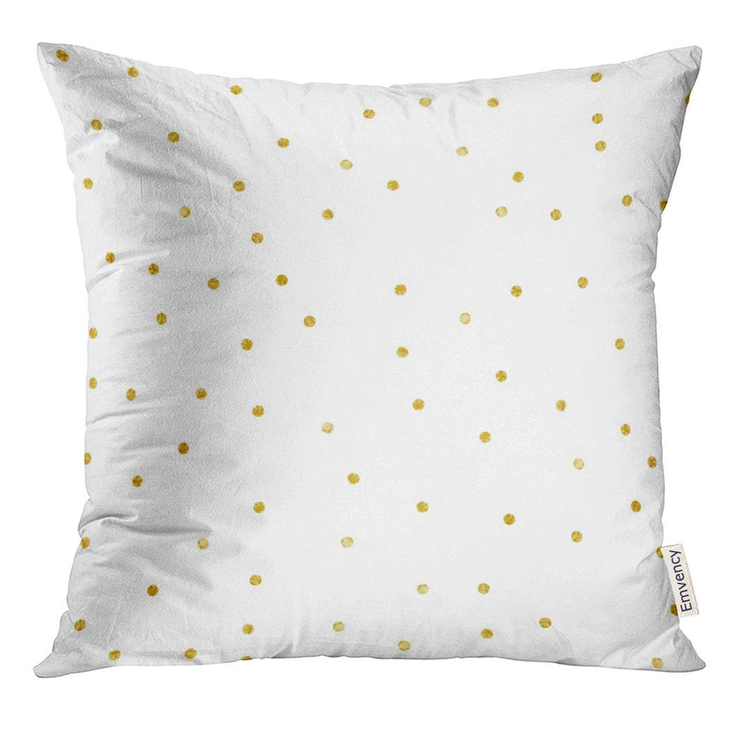 USART Watercolor Falling Polka Dot Confetti Gold Yellow Abstract Pillow Case 16x16 Inches Pillowcase