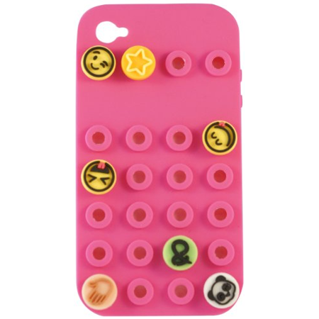 Emoji Icons Iphone 5 5S Pink Cell Phone Case