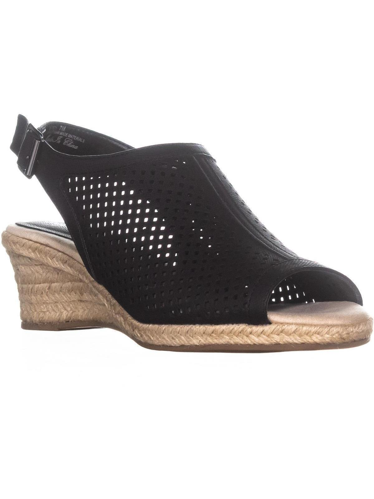 womens easy street stacy espadrilles sandals, black linen