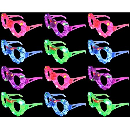 12 VT Set of Flashing LED Multi Color 'Spider Web' Light Up Show Party Favor Toy Glasses (Colors May Vary) - Spider Web Game Halloween Party