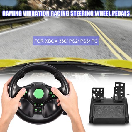 Pc Racing Wheel,Ymiko Gaming Vibration Racing Steering Wheel Pedals for XBOX 360/ PS2/ PS3/ PC USB, pc racing wheel, wheel controller for xbox 360 ()