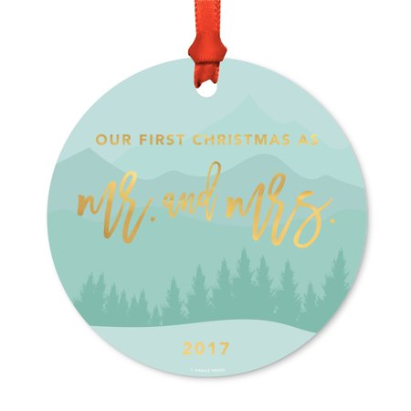 Metal Christmas Ornament, Our First Christmas as Mr. & Mrs. 2017, Winter Wonderland Forest, Includes Ribbon and Gift Bag
