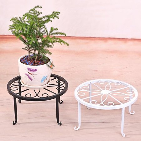 ZeAofa Plant Stand Floor Flower Pot Rack Round Iron Home Garden Indoor Balcony Decor