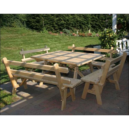 X Treated Pine Wide Picnic Table With Backed Benches - 96 picnic table