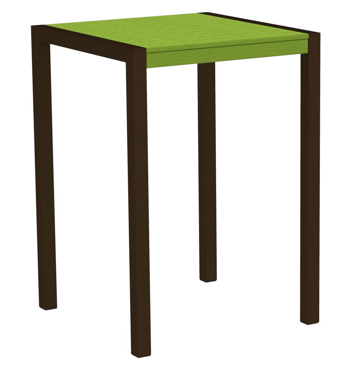 POLYWOOD 8002-16LI MOD 30' Bar Table in Textured Bronze / Lime