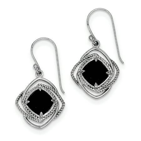 Dangling Onyx Earrings - 925 Sterling Silver Onyx Dangle Earrings