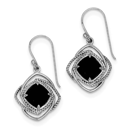 925 Sterling Silver Onyx Dangle Earrings