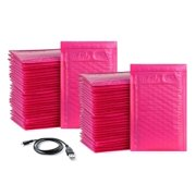 """iMBAPrice 50-Pack #000 (4"""" x 8"""") Hot Pink Color Self Seal Poly Bubble Mailers Padded Shipping Envelopes (Total 50 Bags)"""