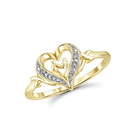 White Diamond Accent 14k Gold Over Silver Mother and Child Heart Ring (Mother Child Ring)