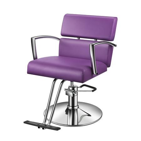 Baasha Modern Purple Salon Chairs For Hair Stylist With Hydraulic Pump Easy To Assemble, Salon Styling Chair Purple/Violet, Salon Barber Chair, Hydraulic Salon Chairs All Purpose